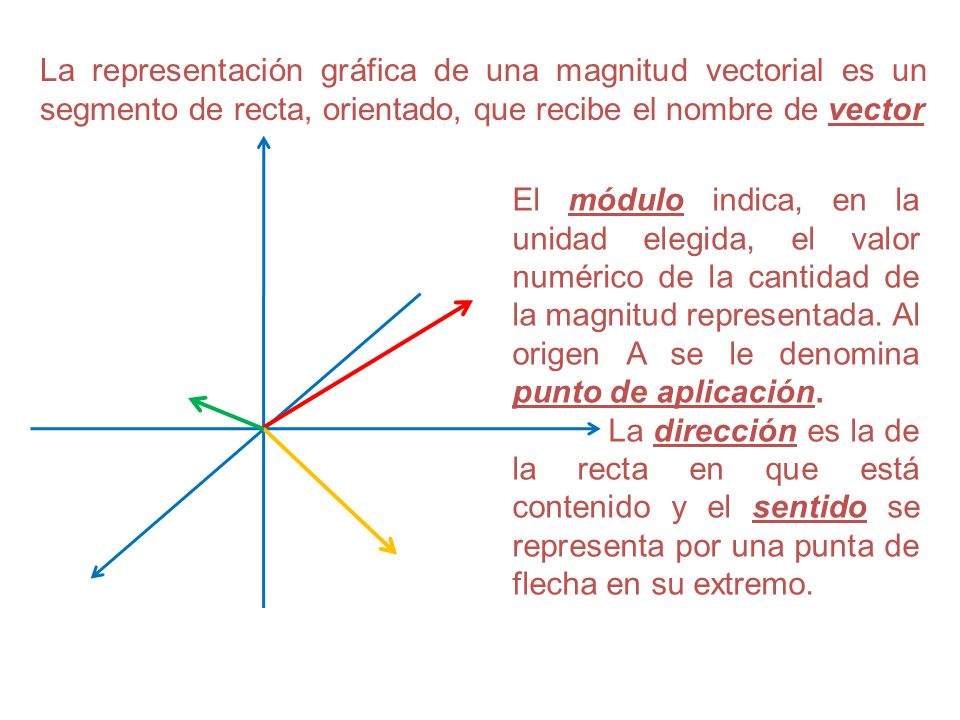 La representación gráfica de una magnitud vectorial es un segmento de recta, orientado, que recibe el nombre de vector El módulo indica, en la unidad