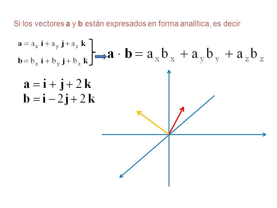 Si los vectores a y b están expresados en forma analítica, es decir