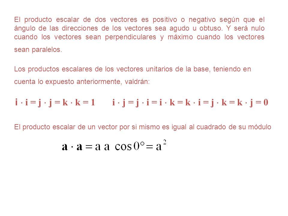Los productos escalares de los vectores unitarios de la base, teniendo en cuenta lo expuesto anteriormente, valdrán: i i = j j = k k = 1 i j = j i = i