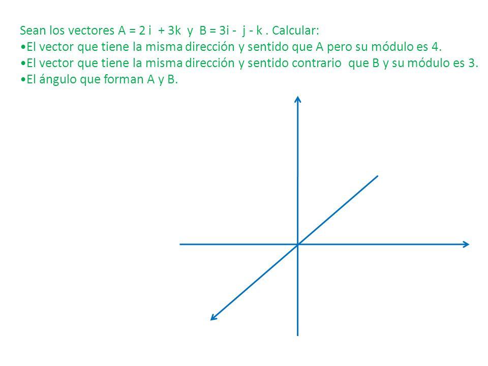 Sean los vectores A = 2 i + 3k y B = 3i - j - k. Calcular: El vector que tiene la misma dirección y sentido que A pero su módulo es 4. El vector que t