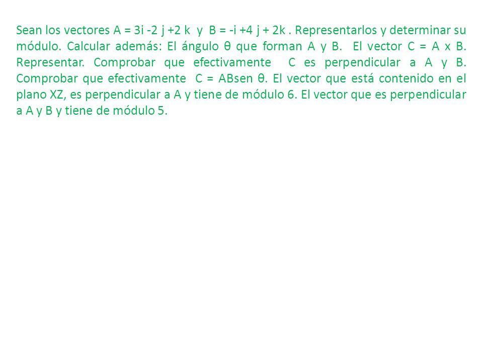 Sean los vectores A = 3i -2 j +2 k y B = -i +4 j + 2k. Representarlos y determinar su módulo. Calcular además: El ángulo θ que forman A y B. El vector