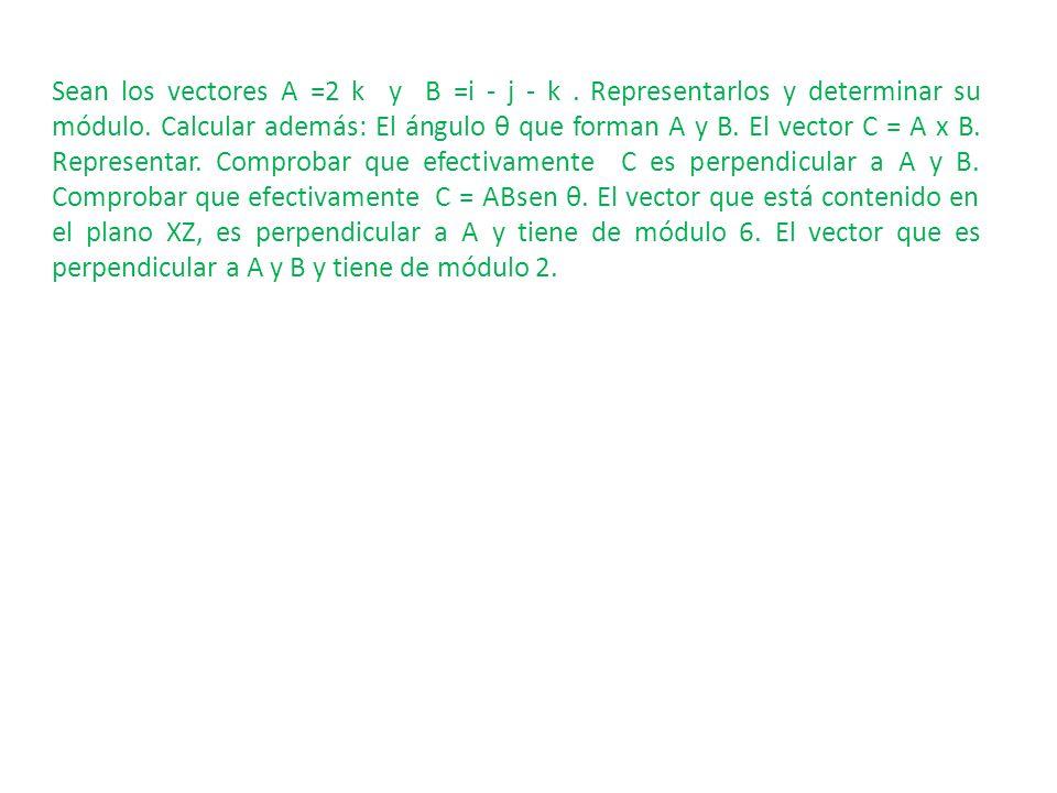 Sean los vectores A =2 k y B =i - j - k. Representarlos y determinar su módulo. Calcular además: El ángulo θ que forman A y B. El vector C = A x B. Re