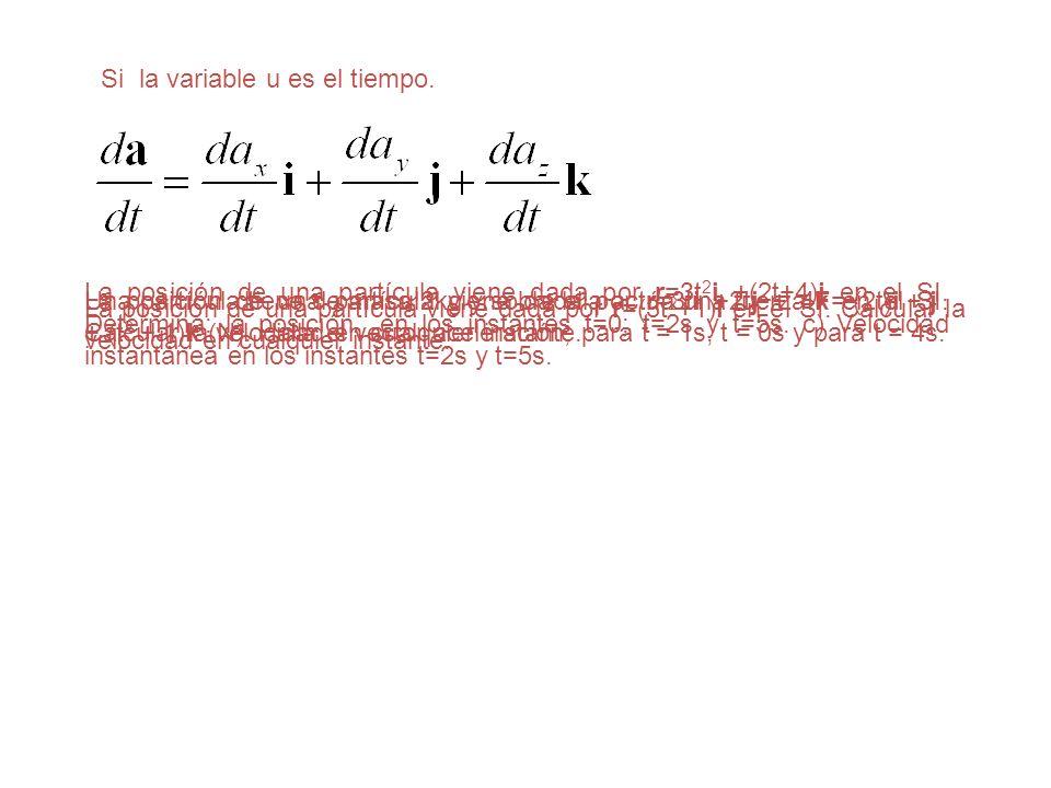 Si la variable u es el tiempo. La posición de una partícula viene dada por r=(3t 2 +1)i en el SI. Calcular la velocidad en cualquier instante. La posi