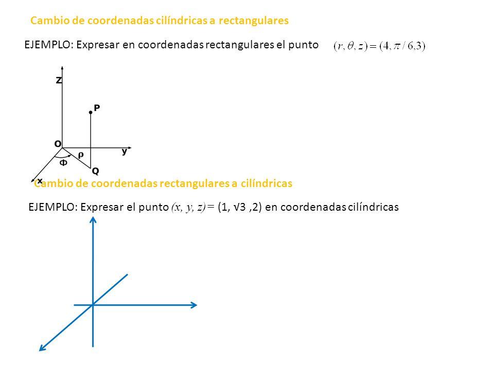 EJEMPLO: Expresar en coordenadas rectangulares el punto EJEMPLO: Expresar el punto (x, y, z)= (1, 3,2) en coordenadas cilíndricas Cambio de coordenada