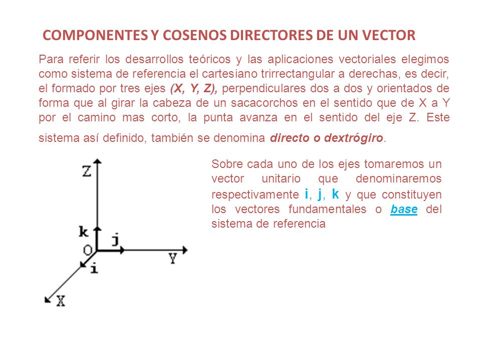 COMPONENTES Y COSENOS DIRECTORES DE UN VECTOR Para referir los desarrollos teóricos y las aplicaciones vectoriales elegimos como sistema de referencia