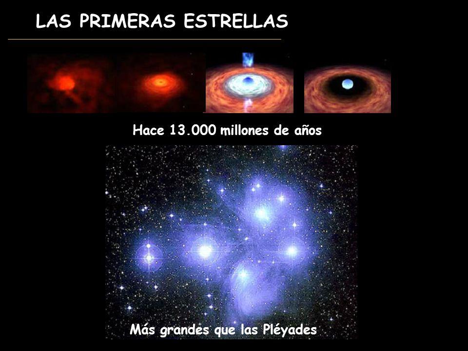 LAS PRIMERAS ESTRELLAS Hace 13.000 millones de años Más grandes que las Pléyades