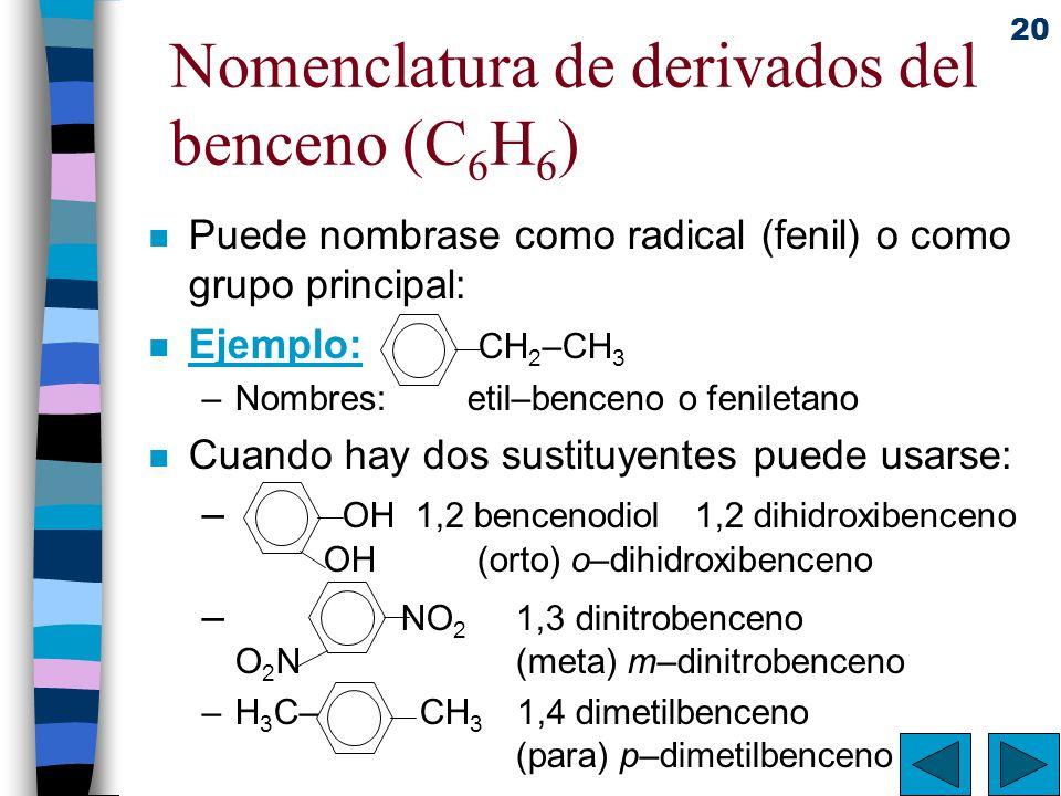 20 Nomenclatura de derivados del benceno (C 6 H 6 ) n Puede nombrase como radical (fenil) o como grupo principal: n Ejemplo: CH 2 –CH 3 –Nombres:etil–