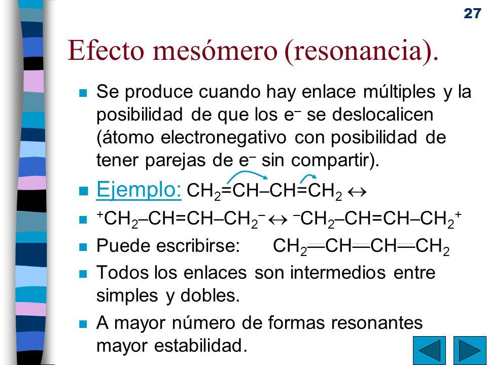 27 Efecto mesómero (resonancia). n Se produce cuando hay enlace múltiples y la posibilidad de que los e – se deslocalicen (átomo electronegativo con p