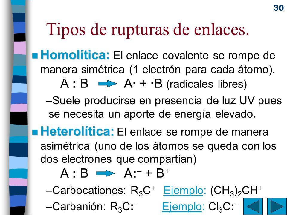 30 Tipos de rupturas de enlaces. n Homolítica: n Homolítica: El enlace covalente se rompe de manera simétrica (1 electrón para cada átomo). A : B A· +