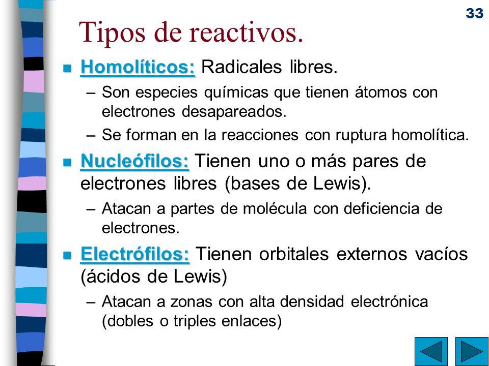 33 Tipos de reactivos. n Homolíticos: n Homolíticos: Radicales libres. –Son especies químicas que tienen átomos con electrones desapareados. –Se forma