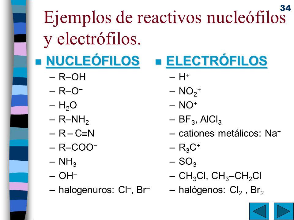 34 Ejemplos de reactivos nucleófilos y electrófilos. n NUCLEÓFILOS –R–OH –R–O – –H2O–H2O –R–NH 2 –R – C N –R–COO – –NH 3 –OH – –halogenuros: Cl –, Br