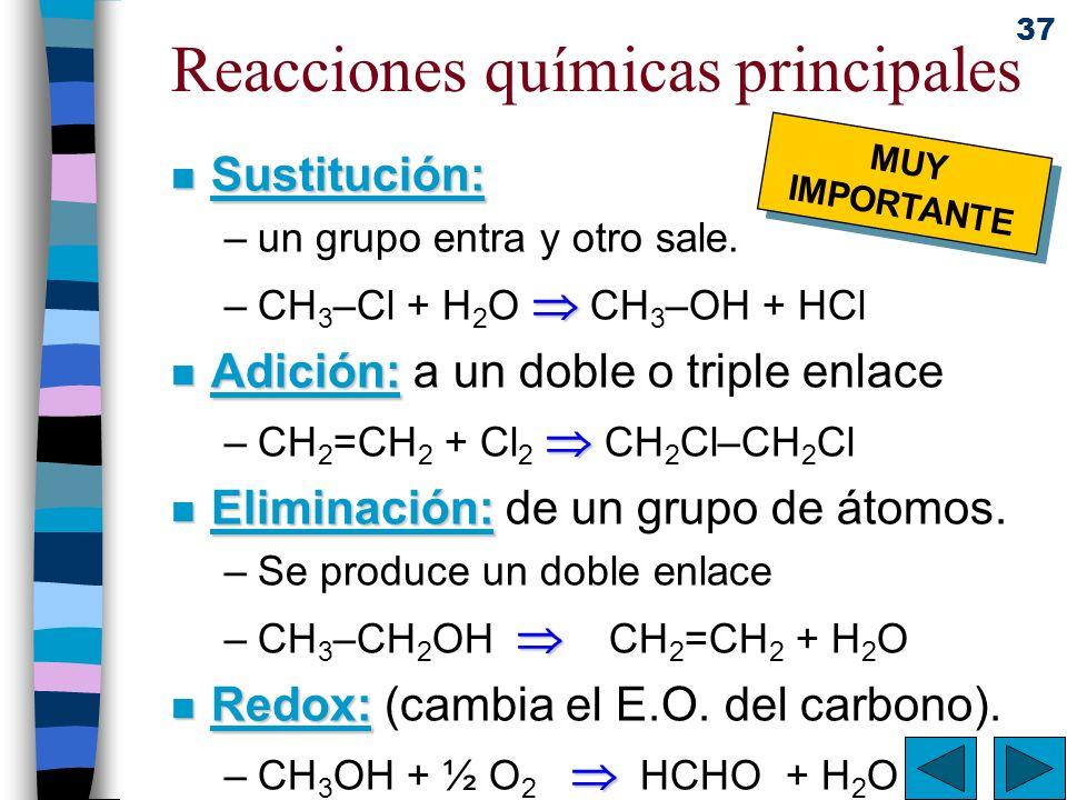 37 Reacciones químicas principales n Sustitución: –un grupo entra y otro sale. –CH 3 –Cl + H 2 O CH 3 –OH + HCl n Adición: n Adición: a un doble o tri