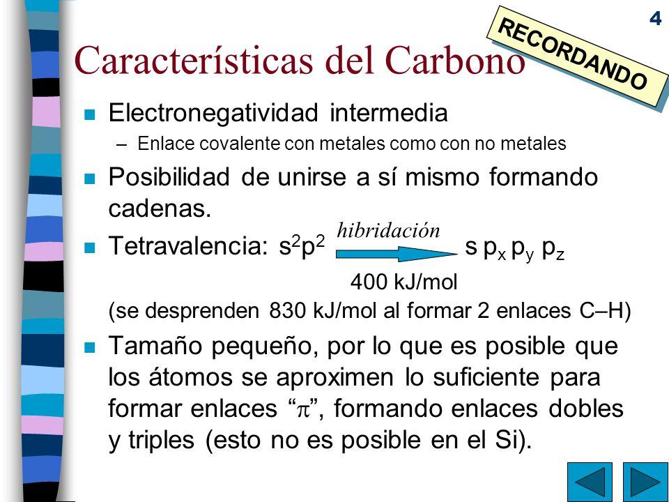 4 Características del Carbono n Electronegatividad intermedia –Enlace covalente con metales como con no metales n Posibilidad de unirse a sí mismo for
