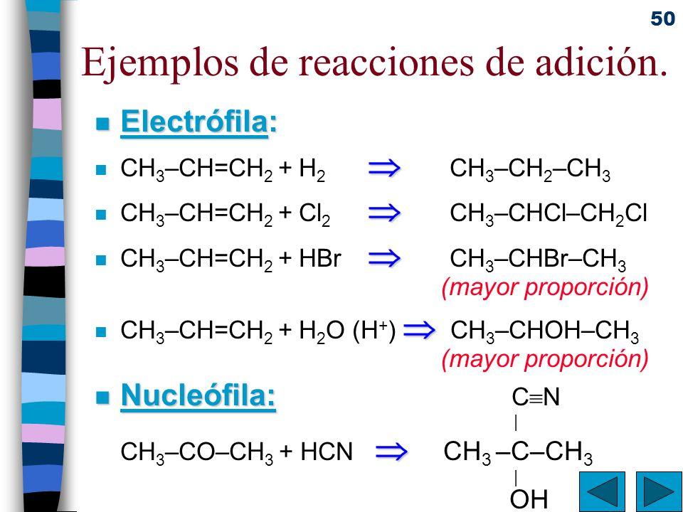 50 Ejemplos de reacciones de adición. n Electrófila: n CH 3 –CH=CH 2 + H 2 CH 3 –CH 2 –CH 3 n CH 3 –CH=CH 2 + Cl 2 CH 3 –CHCl–CH 2 Cl n CH 3 –CH=CH 2