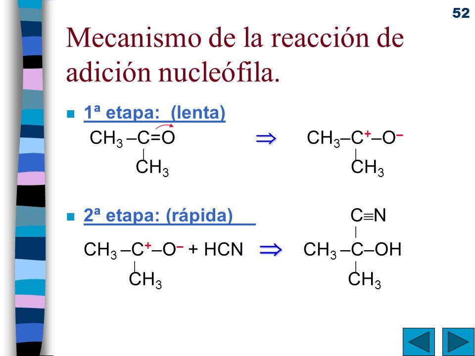 52 Mecanismo de la reacción de adición nucleófila. n 1ª etapa: (lenta) CH 3 –C=O CH 3 –C + –O – | | CH 3 CH 3 n 2ª etapa: (rápida) C N | CH 3 –C + –O