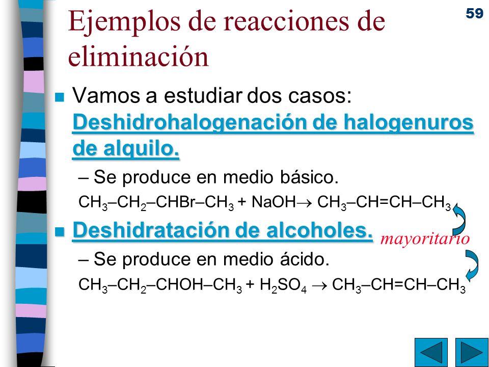 59 Ejemplos de reacciones de eliminación Deshidrohalogenación de halogenuros de alquilo. n Vamos a estudiar dos casos: Deshidrohalogenación de halogen