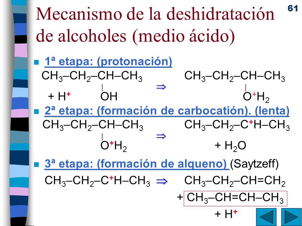 61 Mecanismo de la deshidratación de alcoholes (medio ácido) n 1ª etapa: (protonación) CH 3 –CH 2 –CH–CH 3 CH 3 –CH 2 –CH–CH 3 | | + H + OH O + H 2 n