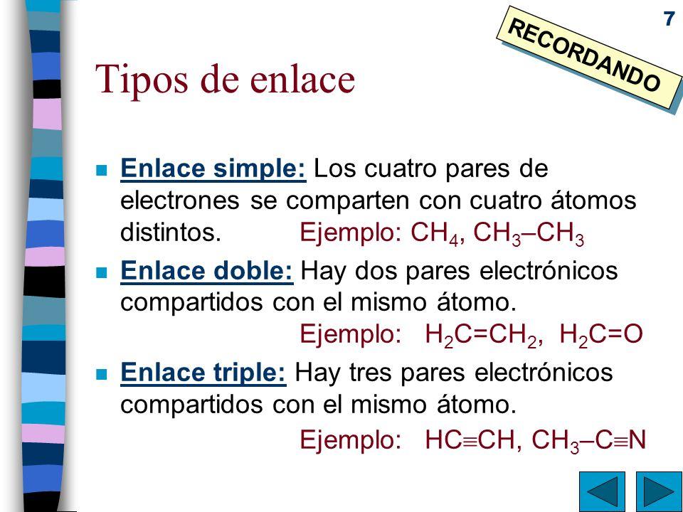 7 Tipos de enlace n Enlace simple: Los cuatro pares de electrones se comparten con cuatro átomos distintos.Ejemplo: CH 4, CH 3 –CH 3 n Enlace doble: H