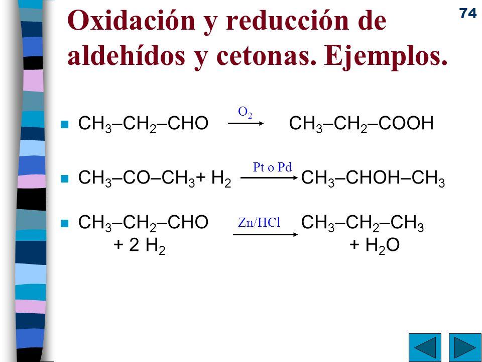 74 Oxidación y reducción de aldehídos y cetonas. Ejemplos. n CH 3 –CH 2 –CHO CH 3 –CH 2 –COOH n CH 3 –CO–CH 3 + H 2 CH 3 –CHOH–CH 3 n CH 3 –CH 2 –CHO