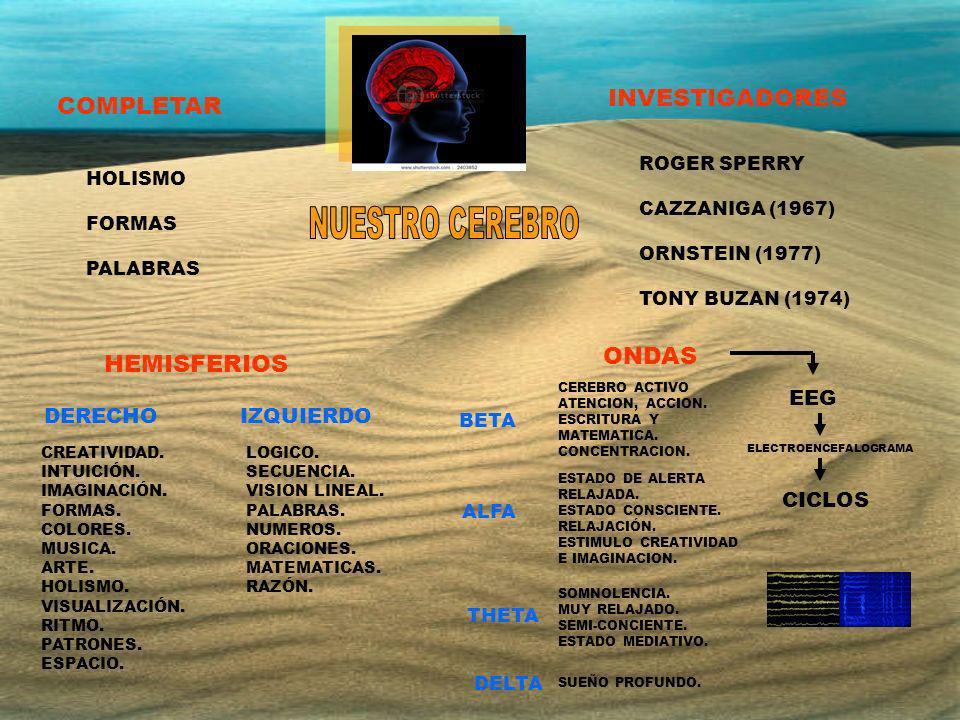 COMPLETAR INVESTIGADORES HEMISFERIOS ONDAS DERECHOIZQUIERDO HOLISMO FORMAS PALABRAS ROGER SPERRY CAZZANIGA (1967) ORNSTEIN (1977) TONY BUZAN (1974) BE