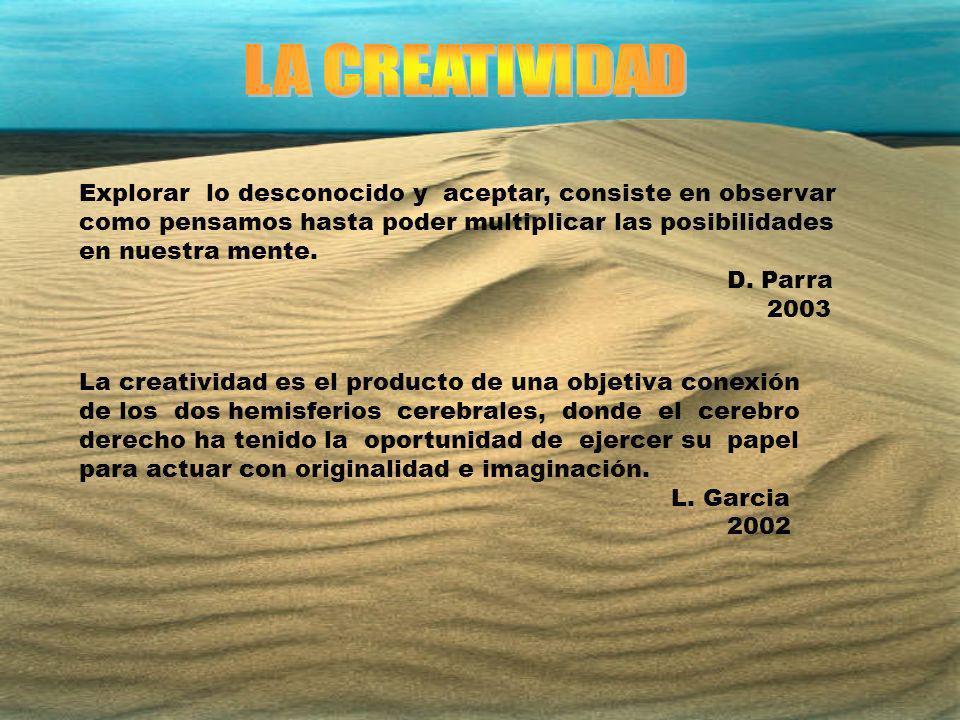 CULTURA IDEAS CONTEXTO PERSONA CREADORA PROCESO OPERATIVO PROCESO OPERATIVO TENSIÓN DIFERENCIAL TENSIÓN DIFERENCIAL VALOR ERRORES PROBLEMA CREATIVIDAD NOVEDAD UNIDAD CIENTÍFICO AZAR Y SOCIAL SERENDIP PREPARACIÓN DEDICACIÓN SATURNINO DE LA TORRE 1997
