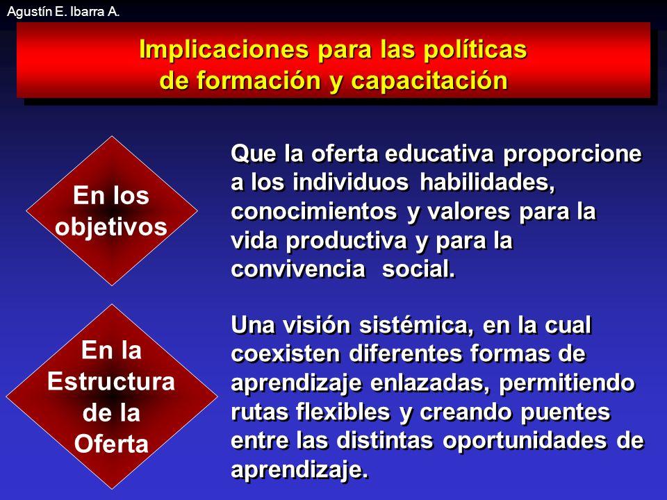 Implicaciones para las políticas de formación y capacitación Implicaciones para las políticas de formación y capacitación Que la oferta educativa proporcione a los individuos habilidades, conocimientos y valores para la vida productiva y para la convivencia social.