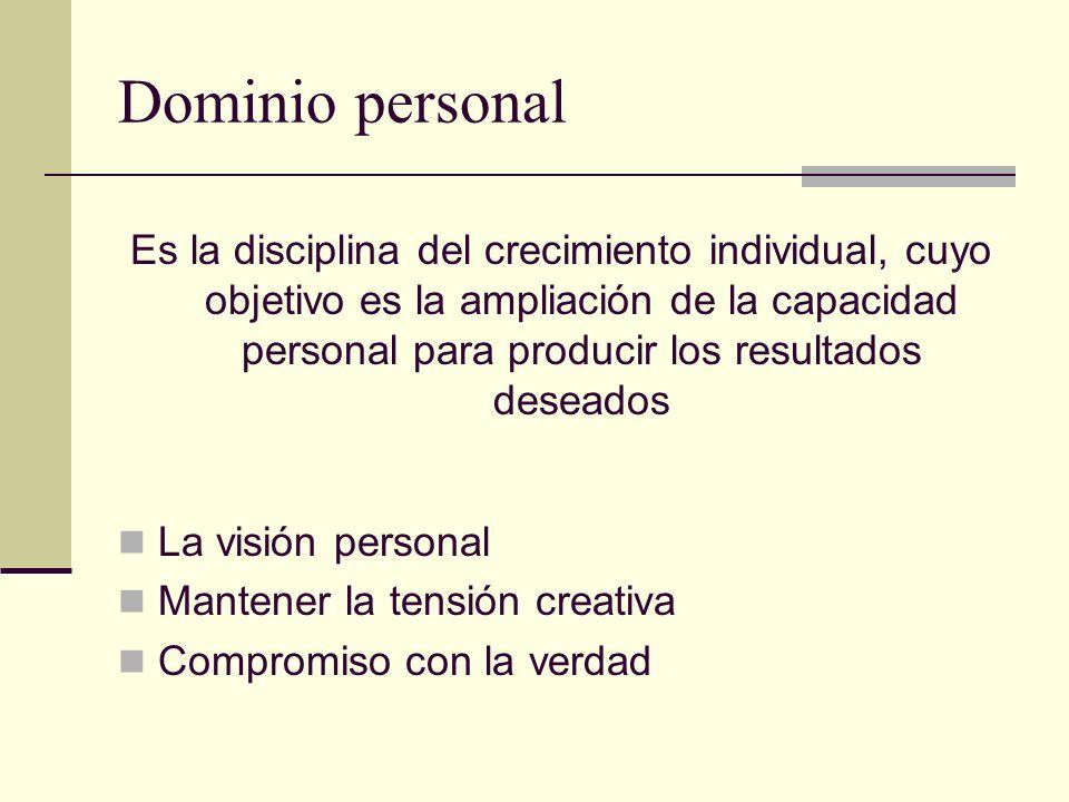 Dominio personal Es la disciplina del crecimiento individual, cuyo objetivo es la ampliación de la capacidad personal para producir los resultados des