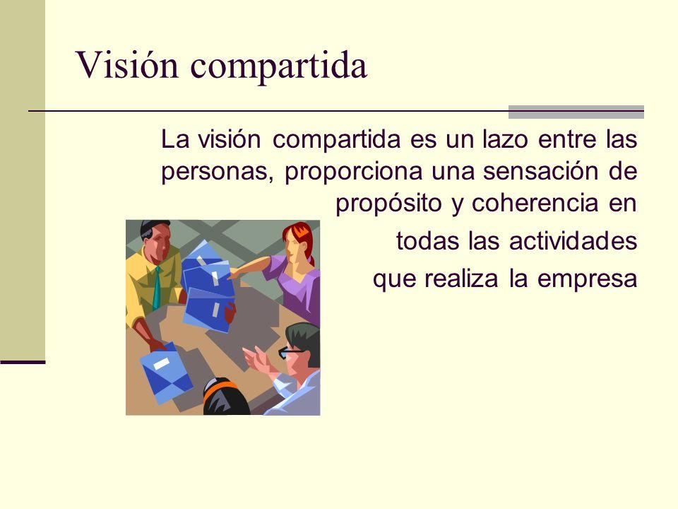 Visión compartida La visión compartida es un lazo entre las personas, proporciona una sensación de propósito y coherencia en todas las actividades que