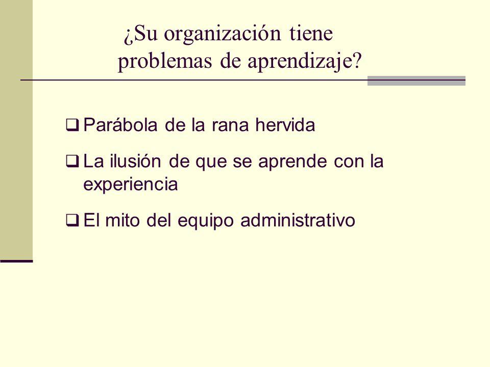 ¿Su organización tiene problemas de aprendizaje? Parábola de la rana hervida La ilusión de que se aprende con la experiencia El mito del equipo admini