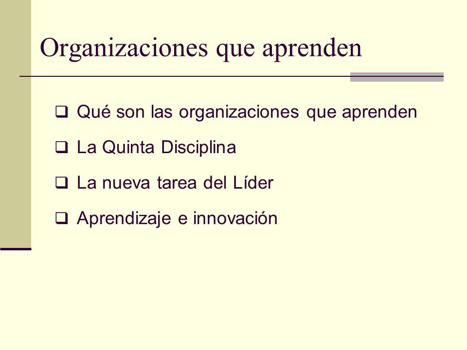 Organizaciones que aprenden Qué son las organizaciones que aprenden La Quinta Disciplina La nueva tarea del Líder Aprendizaje e innovación
