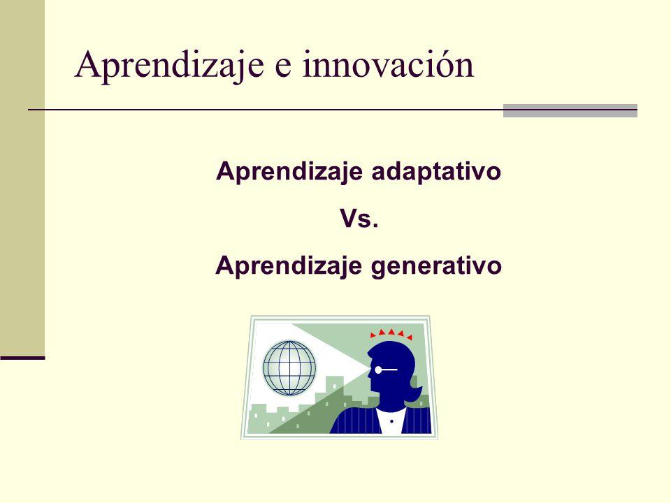 Aprendizaje e innovación Aprendizaje adaptativo Vs. Aprendizaje generativo