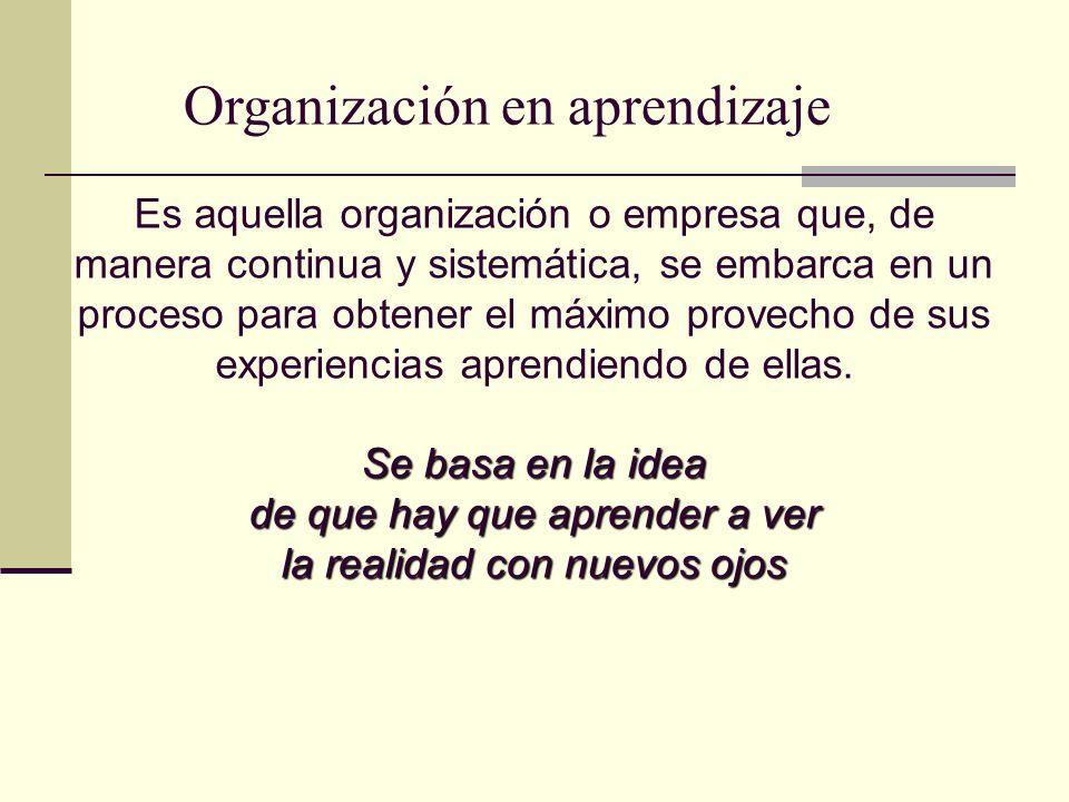 Organización en aprendizaje Es aquella organización o empresa que, de manera continua y sistemática, se embarca en un proceso para obtener el máximo p