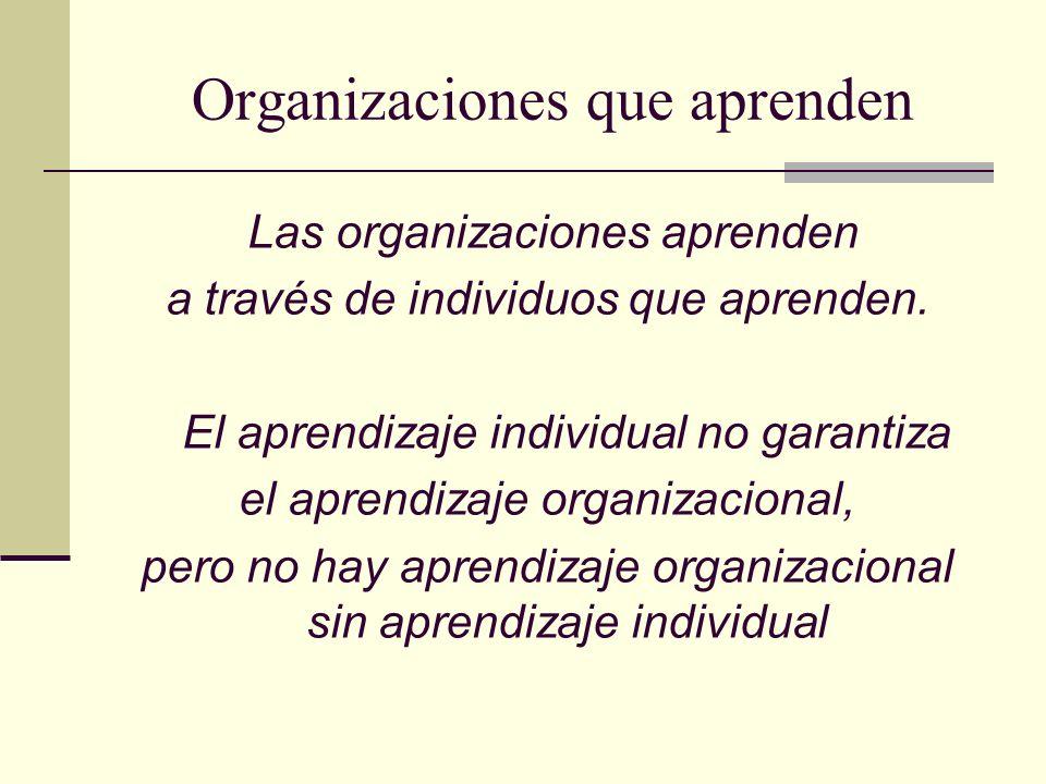 Organizaciones que aprenden Las organizaciones aprenden a través de individuos que aprenden. El aprendizaje individual no garantiza el aprendizaje org