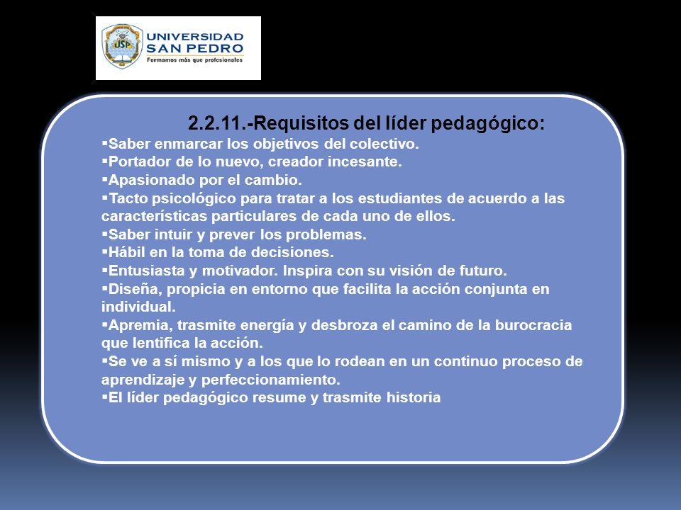 2.2.10.-Cualidades del líder pedagógico: Está dispuesto a correr riesgos. Audaz, inteligente. Vence su desánimo y las ideas negativas. Es paciente y c