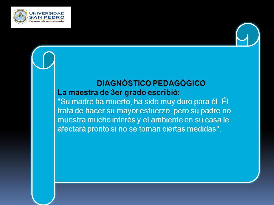 DIAGNÓSTICO PEDAGÓGICO La maestra de 1er grado escribió: