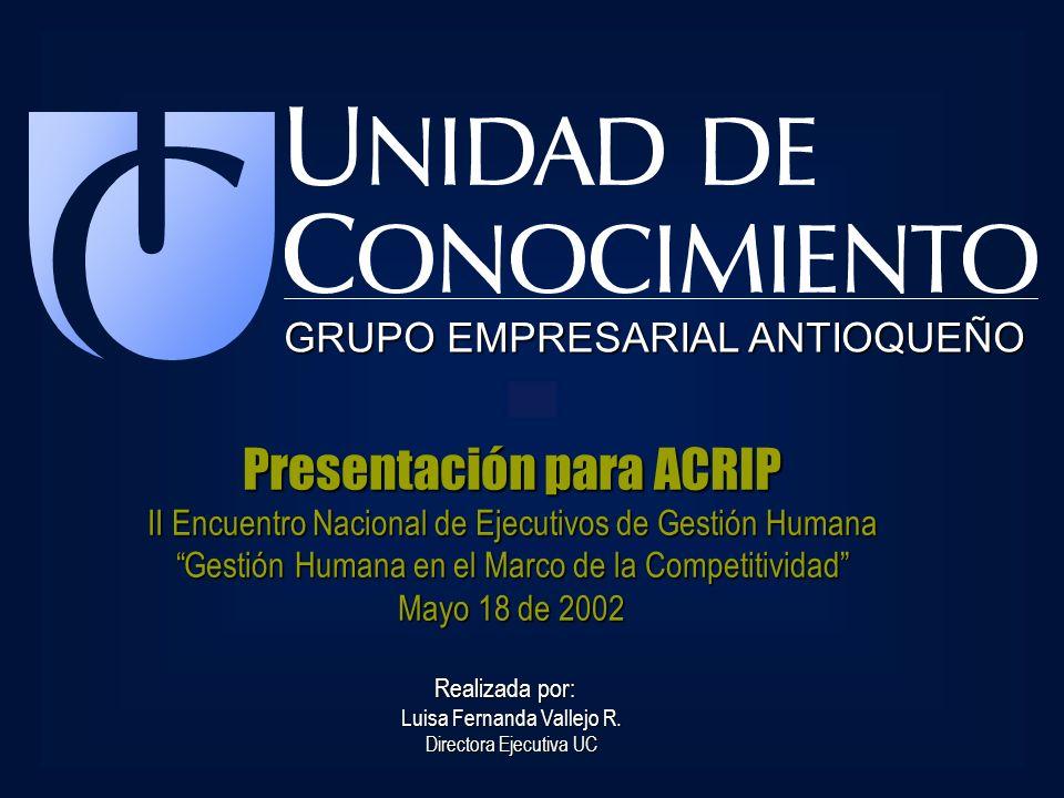 GRUPO EMPRESARIAL ANTIOQUEÑO Presentación para ACRIP II Encuentro Nacional de Ejecutivos de Gestión Humana Gestión Humana en el Marco de la Competitiv