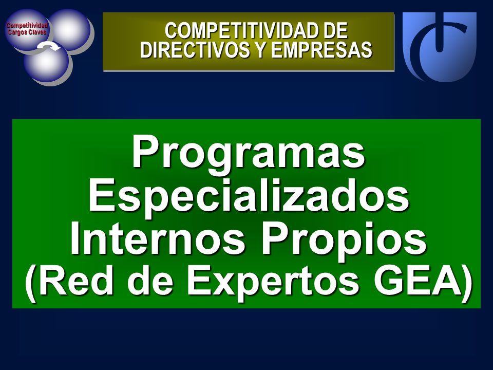 Competitividad Cargos Claves ProgramasEspecializados Internos Propios (Red de Expertos GEA) COMPETITIVIDAD DE DIRECTIVOS Y EMPRESAS