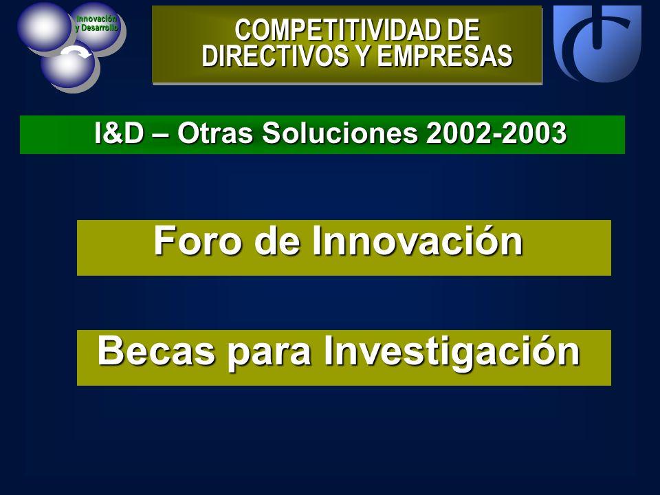 I&D – Otras Soluciones 2002-2003 COMPETITIVIDAD DE DIRECTIVOS Y EMPRESAS Innovación y Desarrollo Foro de Innovación Becas para Investigación