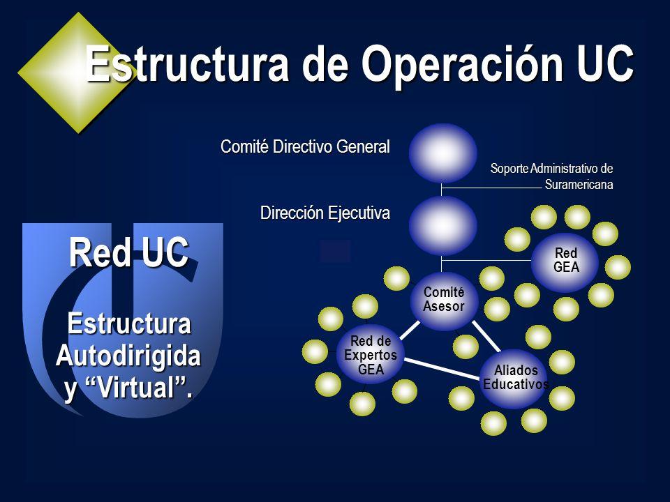 Estructura de Operación UC Comité Directivo General Dirección Ejecutiva Red UC Estructura Autodirigida y Virtual. Aliados Educativos Red de Expertos G