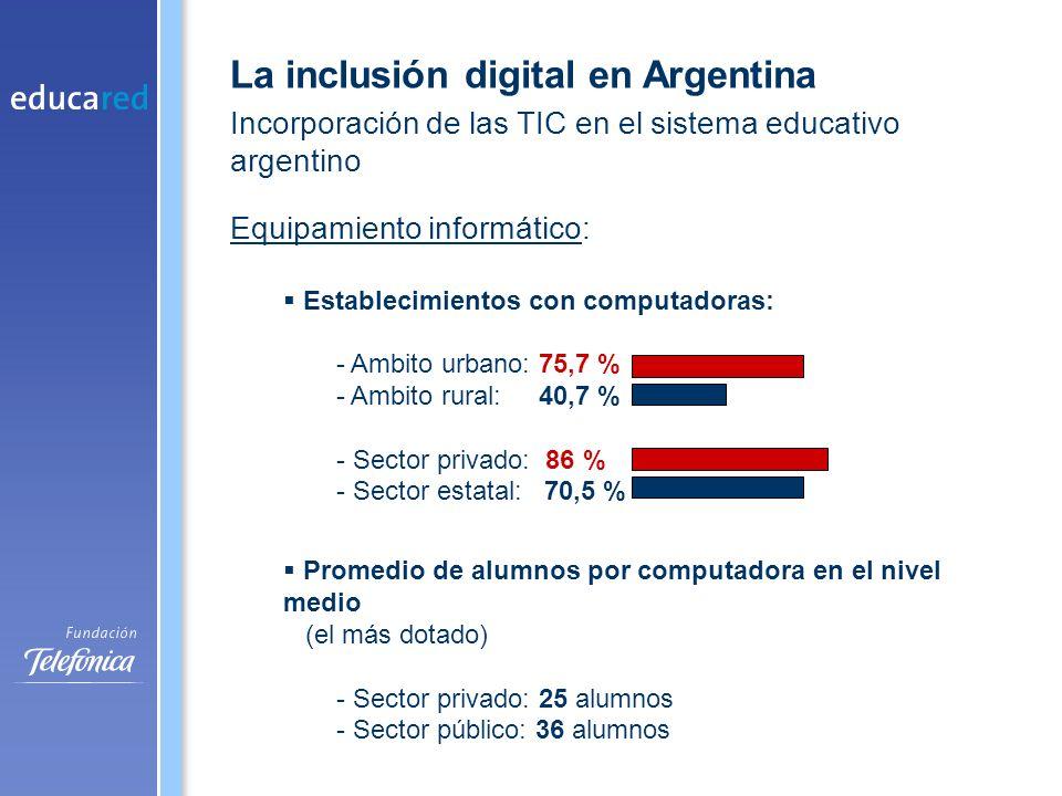 Conectividad 37% de establecimientos tiene conectividad 3,7% de las escuelas de ámbito rural conectadas Tipo de conexión 63,8% Vía telefónica 15,8% Banda ancha: ADSL 12,6% Cable MODEM 5,4% Satelital Escuelas sector estatal: 24,6% Escuelas sector privado: 57 % Datos: DINIECE (Dirección Nacional de Información y Evaluación de la Calidad Educativa, Ministerio de Educación, Ciencia y Tecnología de la Nación, 2006) La inclusión digital en Argentina Incorporación de las TIC en el sistema educativo argentino