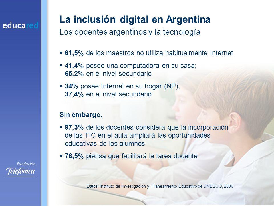 61,5% de los maestros no utiliza habitualmente Internet 41,4% posee una computadora en su casa; 65,2% en el nivel secundario 34% posee Internet en su hogar (NP), 37,4% en el nivel secundario Sin embargo, 87,3% de los docentes considera que la incorporación de las TIC en el aula ampliará las oportunidades educativas de los alumnos 78,5% piensa que facilitará la tarea docente Los docentes argentinos y la tecnología Datos: Instituto de Investigación y Planeamiento Educativo de UNESCO, 2006 La inclusión digital en Argentina