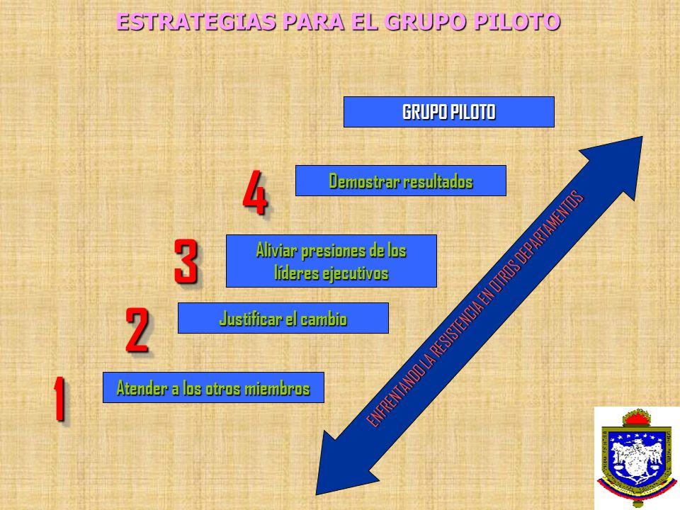 ESTRATEGIAS PARA EL GRUPO PILOTO Atender a los otros miembros 11 Justificar el cambio 22 Aliviar presiones de los líderes ejecutivos 33 Demostrar resu