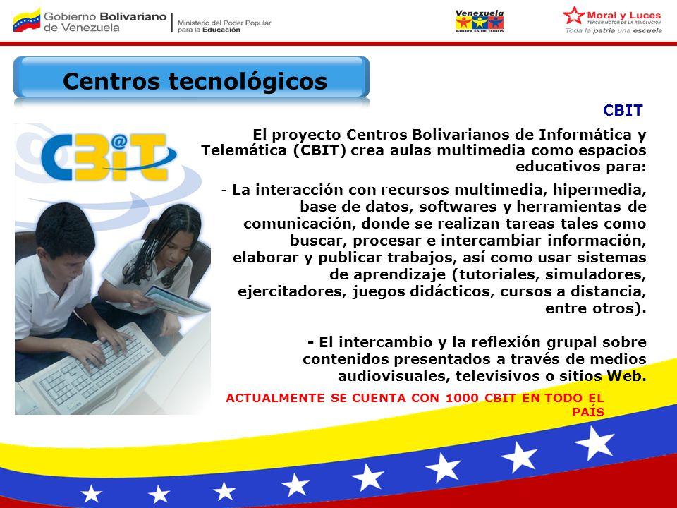Centros tecnológicos UMIEB Unidad Móvil Integral de Educación Bolivariana Centro de Gestión Parroquial