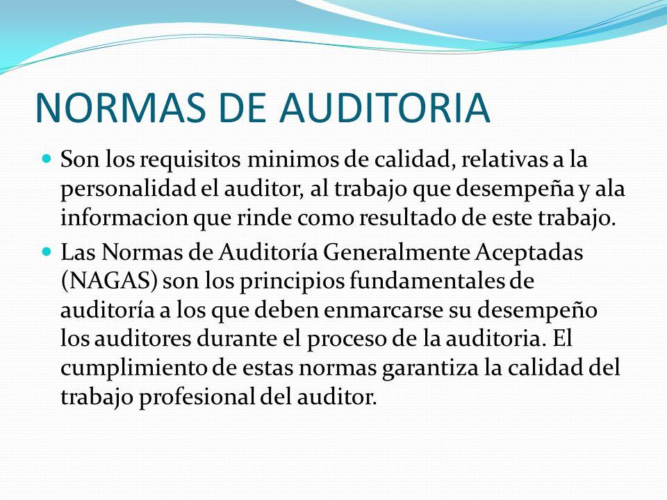 NORMAS DE AUDITORIA Son los requisitos minimos de calidad, relativas a la personalidad el auditor, al trabajo que desempeña y ala informacion que rind