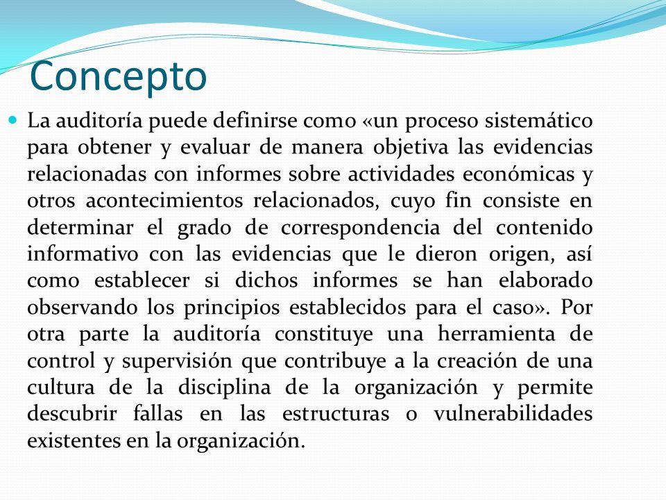 Concepto La auditoría puede definirse como «un proceso sistemático para obtener y evaluar de manera objetiva las evidencias relacionadas con informes