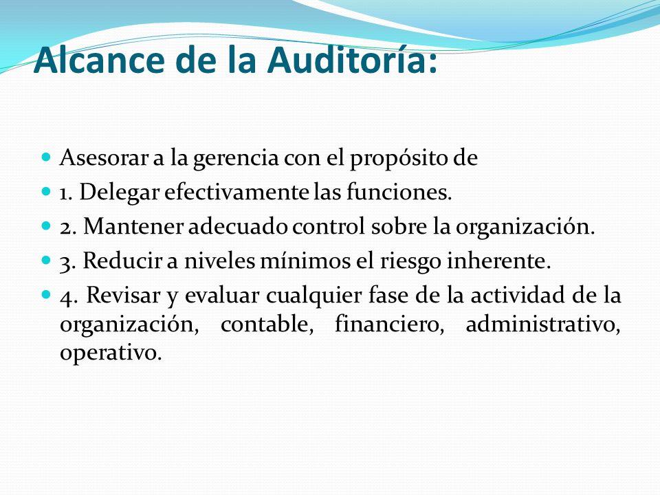 Alcance de la Auditoría: Asesorar a la gerencia con el propósito de 1. Delegar efectivamente las funciones. 2. Mantener adecuado control sobre la orga