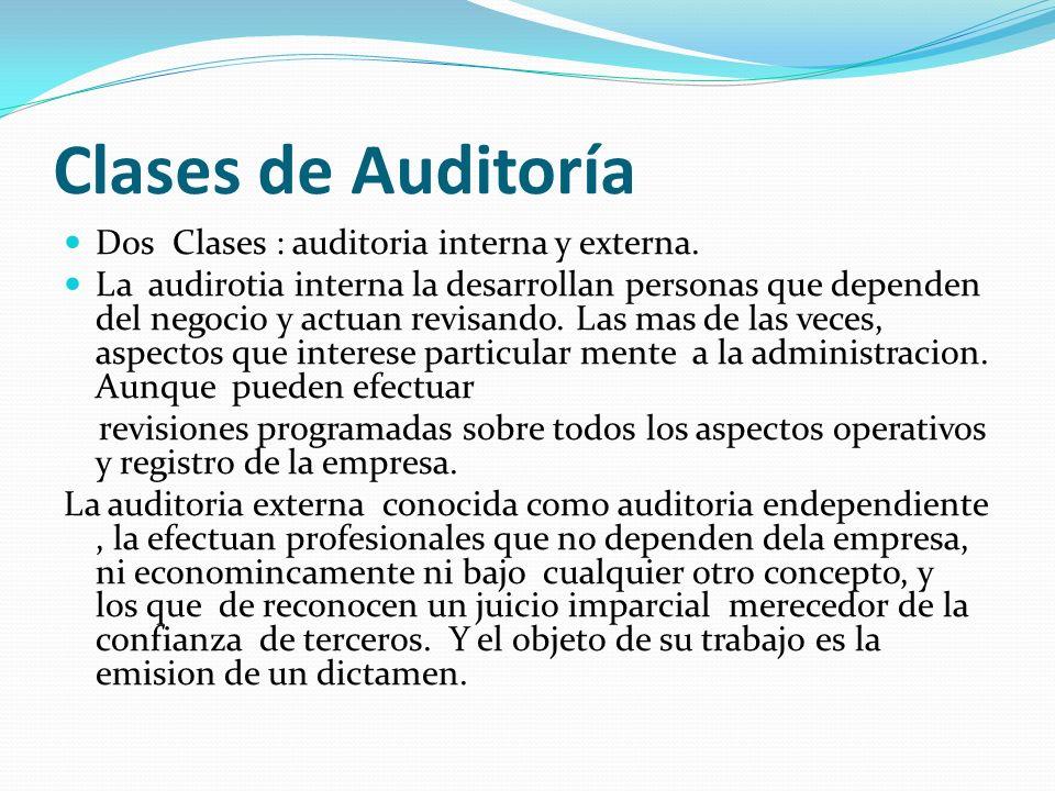 Clases de Auditoría Dos Clases : auditoria interna y externa. La audirotia interna la desarrollan personas que dependen del negocio y actuan revisando