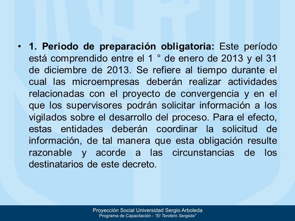 1. Periodo de preparación obligatoria: Este período está comprendido entre el 1 ° de enero de 2013 y el 31 de diciembre de 2013. Se refiere al tiempo