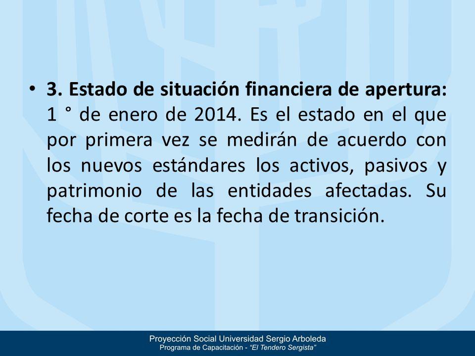 3. Estado de situación financiera de apertura: 1 ° de enero de 2014. Es el estado en el que por primera vez se medirán de acuerdo con los nuevos están