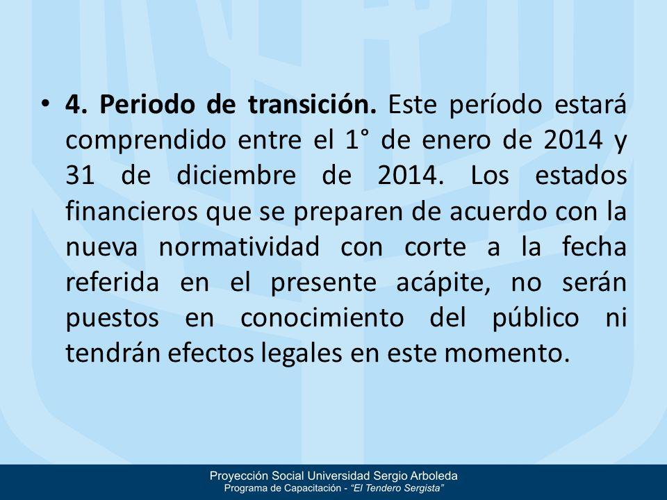 4. Periodo de transición. Este período estará comprendido entre el 1° de enero de 2014 y 31 de diciembre de 2014. Los estados financieros que se prepa